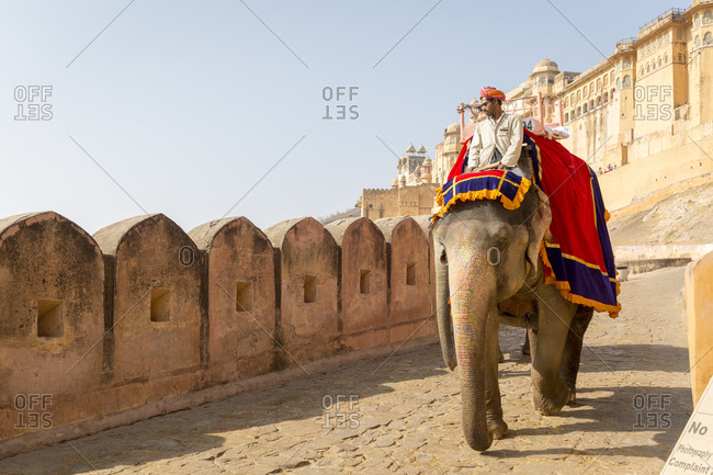 February 14,  2016: Fortress of Amber, Amber Fort, Jaipur, Rajasthan, India