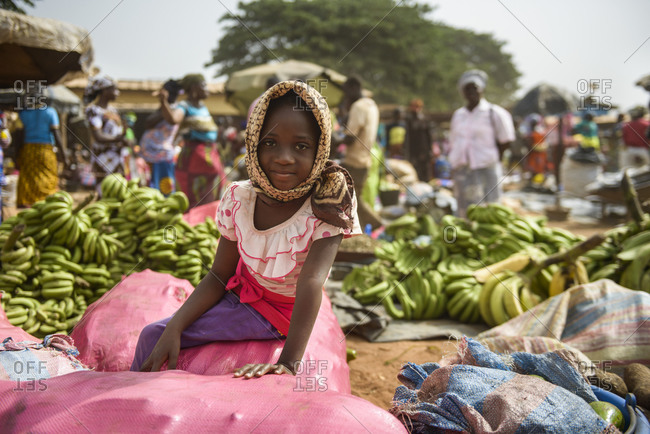 February 7,  2016: Village markets in northern Cote D'Ivoire (Ivory Coast)
