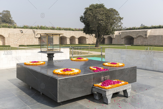 February 5,  2016: Memorial Raj Ghat, place of cremation of Mahatma Gandhi, Delhi, Indian