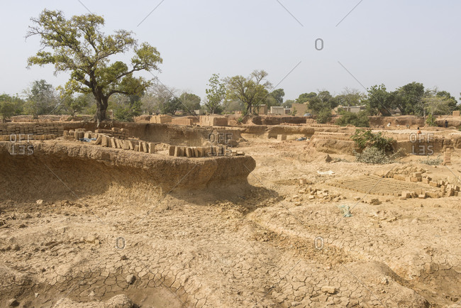 Landscape of a brick quarry in Burkina Faso