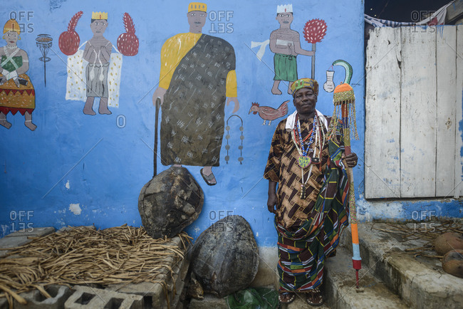 November 28,  2015: The king of Ganvie, a voodoo priest and his fetish, Benin, Africa