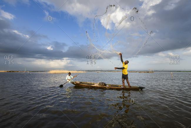 November 28,  2015: Fishermen of the floating village of Ganvi� �, Benin, Africa
