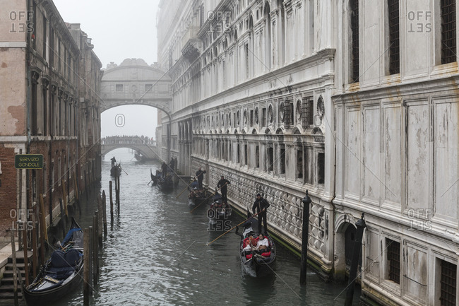 November 9,  2015: The Bridge of Sighs connects the Doge's Palace to the Prigioni Nuove in Venice, Italy