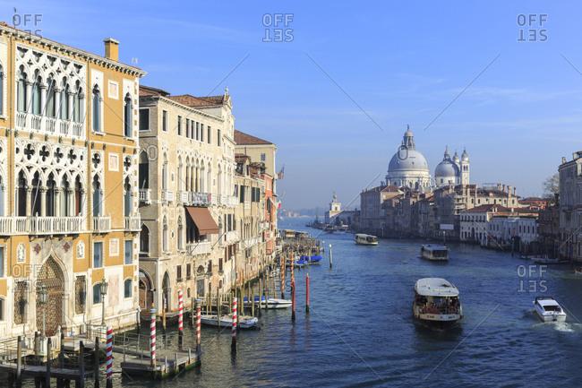 November 8,  2015: The Grand Canal with the Church of Santa Maria della Salute, Venice, Italy