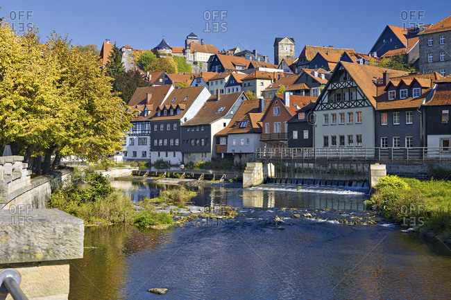 Cityscape with River Hasslach and Fortress Rosenberg, Kronach, Upper Franconia, Bavaria, Germany