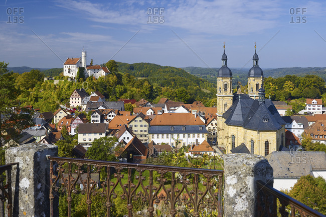 View from the Kreuzberg on Pilgrimage Church and castle, Goessweinstein, Upper Franconia, Bavaria, Germany