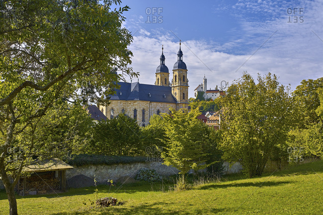 Pilgrimage Church with Lowenstein castle, Lowenstein, Upper Franconia, Bavaria, Germany