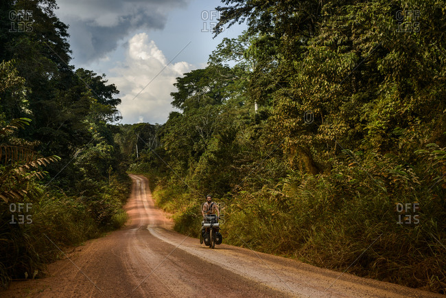 September 17,  2015: Cycling in the equatorial rainforest of Gabon, Central Africa