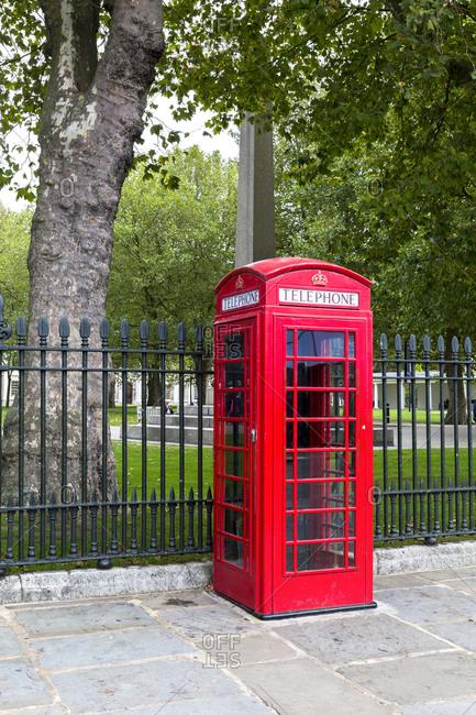 September 13,  2015: Telephone booth, Greenwich, London, United Kingdom