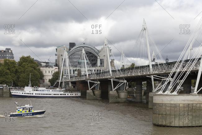 September 12,  2015: Hungerford Bridge and Charing Cross Station, London, United Kingdom