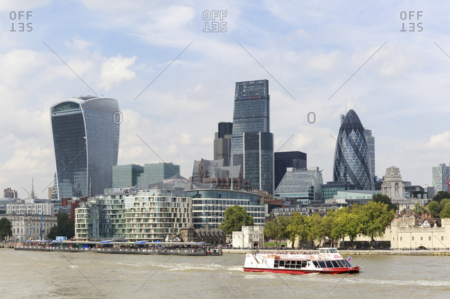 September 11,  2015: Skyscrapers in the financial district of the City of London, United Kingdom