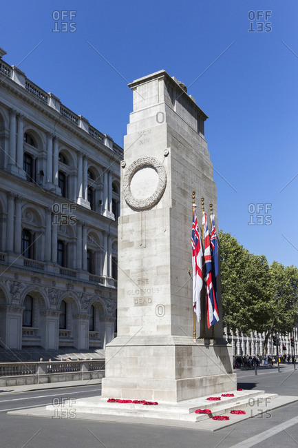 September 10,  2015: The Cenotaph, War Memorial, Whitehall, London, United Kingdom