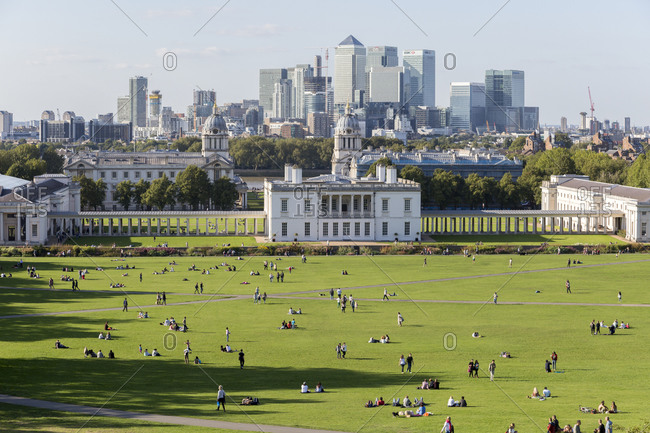 September 6,  2015: National Maritime Museum, Greenwich and Canary Wharf office building complex, London, United Kingdom