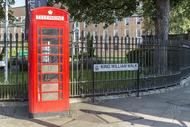 September 6,  2015: Telephone booth, King William Walk, Greenwich, London, United Kingdom