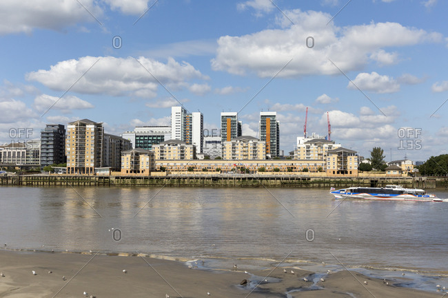 September 6,  2015: New building area on the Isle of Dogs, Docklands, London, United Kingdom