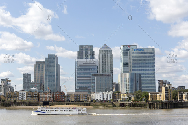September 6,  2015: Skyscrapers at Canary Wharf, Isle of Dogs, Tower Hamlets, Docklands, London, United Kingdom
