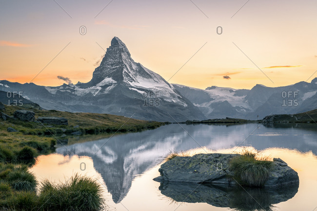 The Matterhorn reflected in Stellisee at sunset, Switzerland