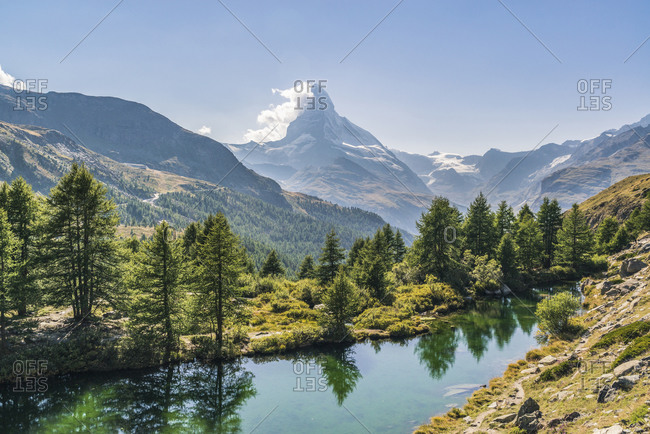 The Grindjisee with view of the Matterhorn, Switzerland