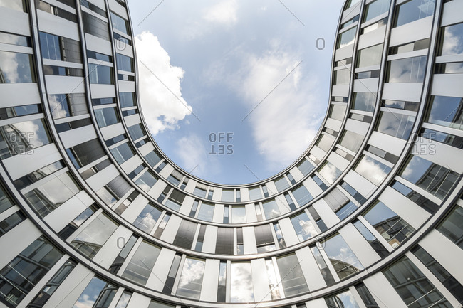 July 26,  2015: Facade, Modern Architecture, The Wave, Hamburg, Germany