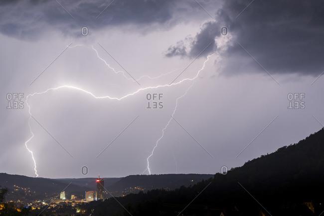 Thunderstorm over Jena, Thuringia, Germany