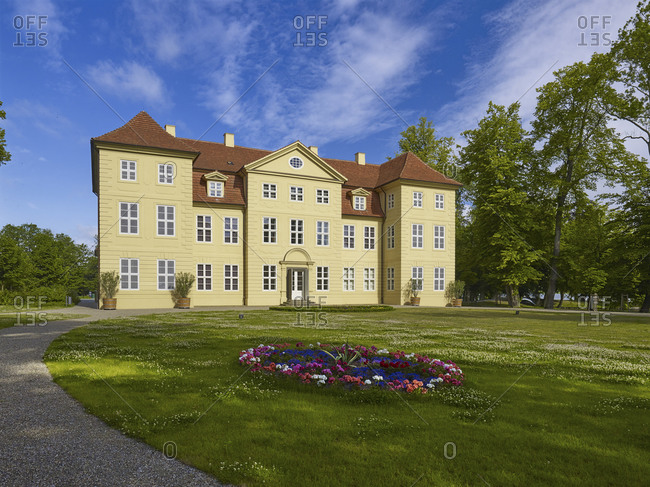 June 22,  2015: Mirow Castle on the Castle Island in Mirow, Mecklenburg-Vorpommern, Germany <br> Mirow Castle on Castle Island in Mirow, Mecklenburg Western Pomerania, Germany