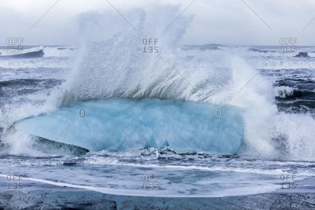 Beach-washed icebergs, Jokulsarlon glacier lakes, Iceland