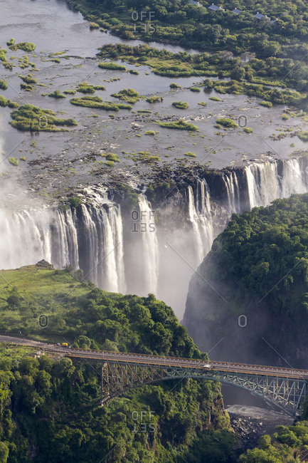 Victoria Falls Bridge below Victoria Falls, border between Zimbabwe and Zambia, Africa