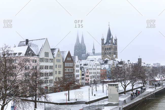 January 24,  2015: Cologne Cathedral and Great St Martin, Old Town, Cologne, North Rhine-Westphalia, Germany Cologne Cathedral and Church United St Martin, Old Town, Cologne, North Rhine-Westphalia, Germany