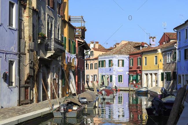November 14,  2014: Colorful facades on the island of Burano, Venetian Lagoon, Italy