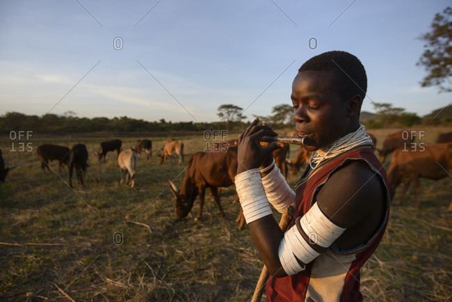 November 11,  2014: Shepherd of the Sukuma tribe, Western Tanzania, Africa