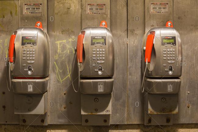 November 6,  2014: Public telephones, Venice, Italy