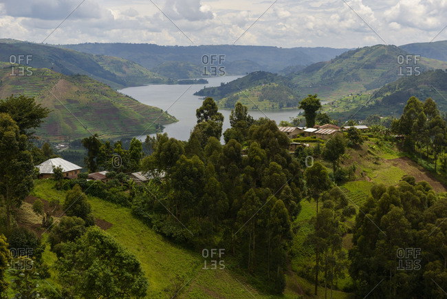 Overlooking Lake Bunyonyi, Southwest Uganda, Africa Overlooking Lake Bunyonyi, South Western Uganda, Africa