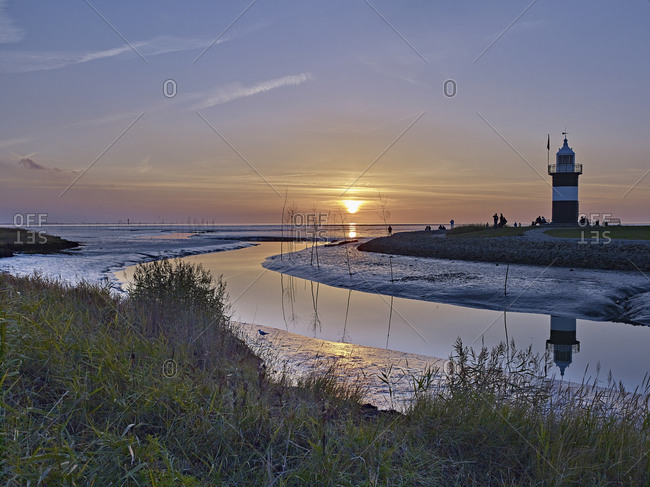 Lighthouse small Preusse in the harbor of Wremen, Wurster coast, district Cuxhaven, Lower Saxony, Germany