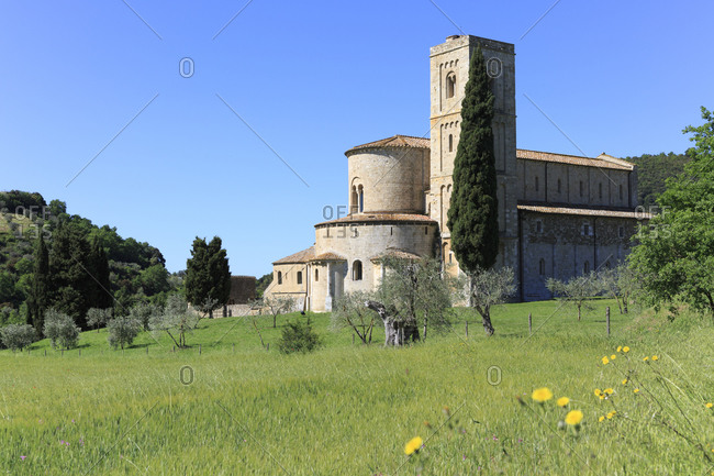 The Abbey of SantiAntimo, Castelnuovo dell'Abate, hamlet of Montalcino, province of Siena, Tuscany, Italy