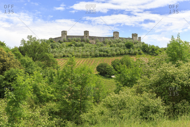 Town wall of Monteriggioni, Province of Siena, Tuscany, Italy