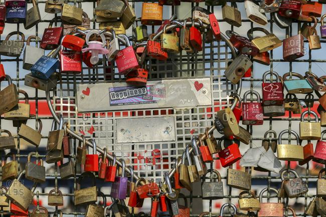 March 11,  2014: Love locks on Hohenzollern Bridge, Old Town, Cologne, North Rhine Westphalia, Germany