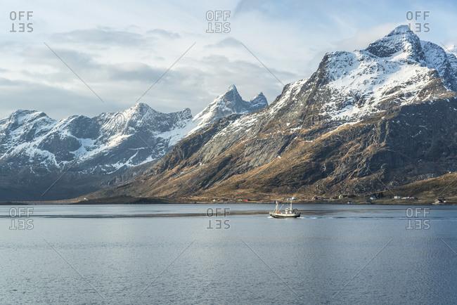March 3,  2014: Fishing boat on Selfjord, Lofoten, Norway