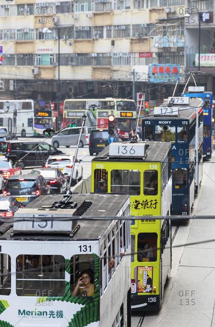 China - October 12, 2019: Trams and traffic, North Point, Hong Kong Island, Hong Kong