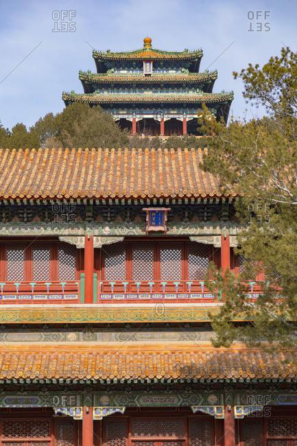 Pavilions in Jingshan Park, Beijing, China