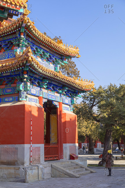 China - December 26, 2019: Woman at Confucius Temple, Beijing, China