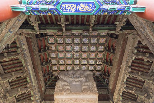 Ceiling of shrine in Confucius Temple, Beijing, China