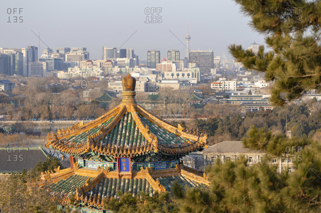 View of west Beijing from Jingshan Park, Beijing, China