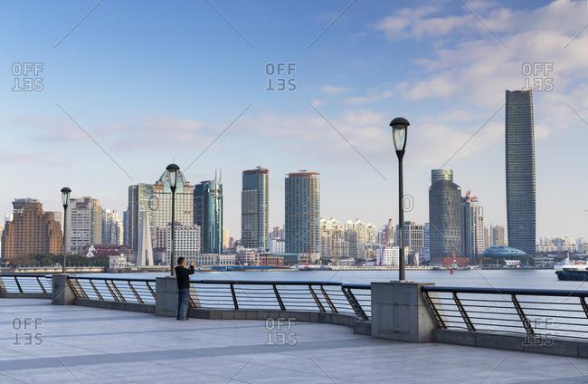 China - December 31, 2019: Buildings along Huangpu River, Shanghai, China