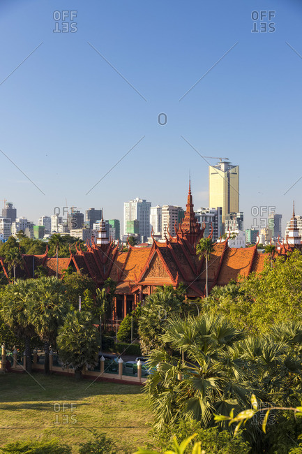 Cambodia - December 9, 2019: Cambodia, Phnom Penh, elevated view of Royal Palace