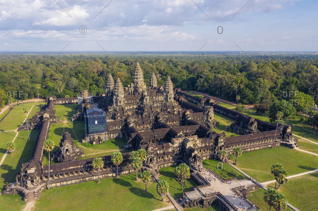 Cambodia - December 1, 2019: Cambodia, Siem Reap, aerial view of Angkor Wat Complex (Unesco Site)