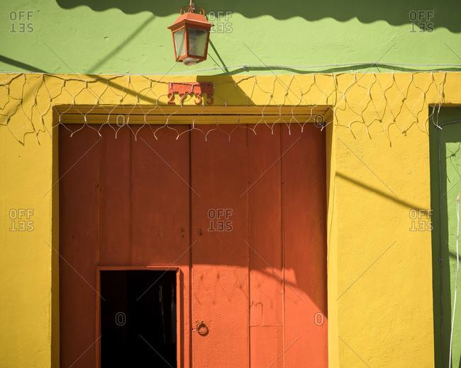 Facade of Colorful Building, Getsemani Barrio, Cartagena, Bolivar Department, Colombia, South America
