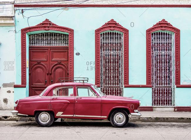 Cuba - April 13, 2019: Vintage Car on the street of Camaguey, Camaguey Province, Cuba