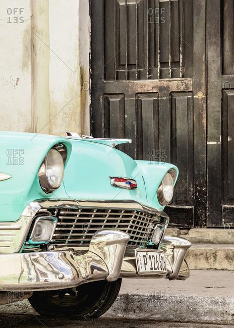 Cuba - April 14, 2019: Vintage Car on the street of Camaguey, Camaguey Province, Cuba