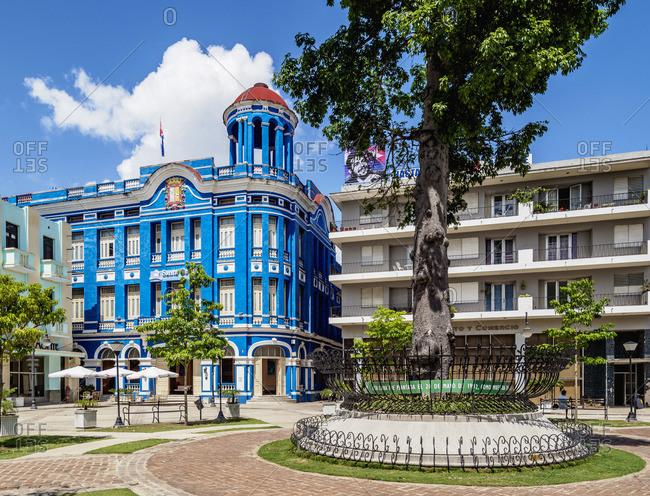 Cuba - April 14, 2019: Convention Center Santa Cecilia, Plaza de los Trabajadores, Camaguey, Camaguey Province, Cuba