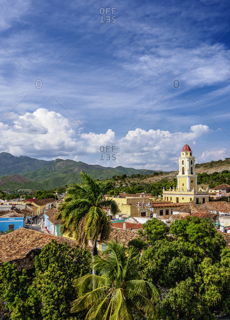 Townscape with San Francisco Convent Church Tower, elevated view, Trinidad, Sancti Spiritus Province, Cuba